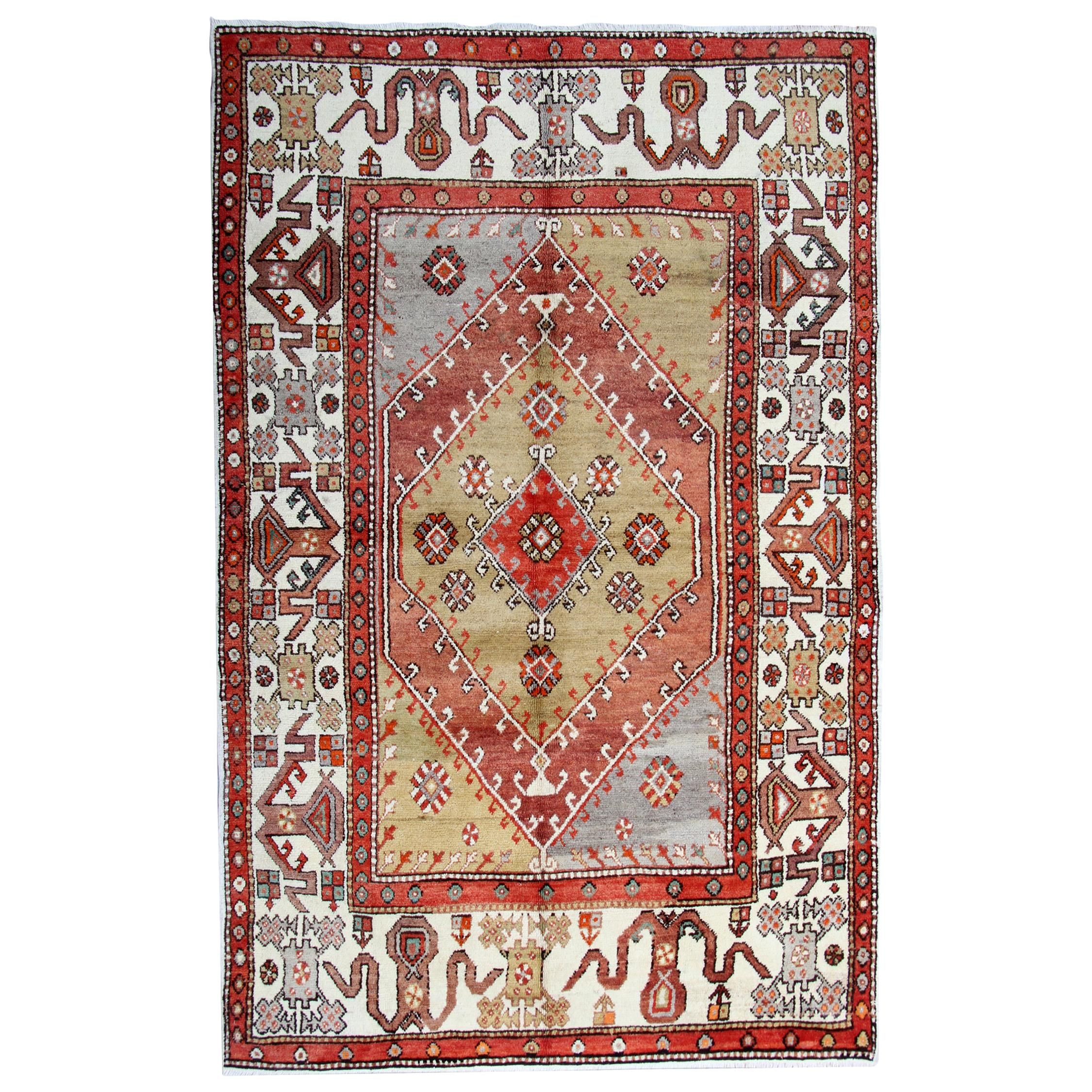 Handmade Carpet Antique Rug, Turkish Rug, Wool Oriental Rug Knitted Carpet
