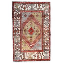 Handmade Carpet Antique Rug, Turkish Rug, Wool Oriental Rug Knitted Carpet