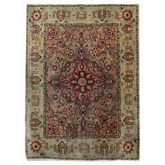 Handmade Carpet Antique Rugs, Agra Indian Rug, luxury Red Oriental Rugs for Sale