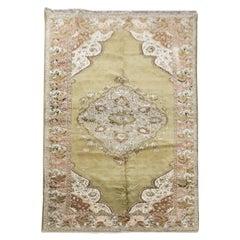 Handmade Carpet Area Oriental Rug, Antique Green Wool Living Room Rug for Sale