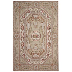 Handmade Carpet Aubusson Style Rug, Beige Needlepoint Floral Country Home Decor