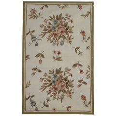 Handmade Carpet Aubusson Style Rugs, Floral Needlepoint Flat-Weave Rugs for Sale