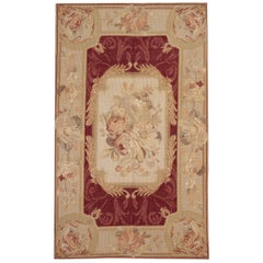 Handmade Carpet Aubusson Style Rugs, Red Floor Carpet Needlepoint Flat-Weave Rug