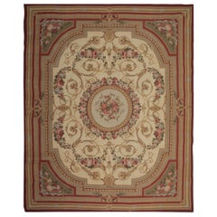Handmade Carpet Cream Traditional Rug, Floral Flat-Weave Aubusson Style Rugs
