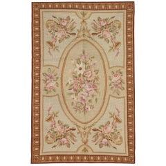 Handmade Carpet, Floor Area Rug, Aubusson Style Rugs, Needlepoint Flat-Weave Rug