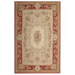 Handmade Carpet, Floral Aubusson Style Rugs Cream Needlepoint Flat-Weave Rug