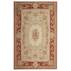 Handmade Carpet, Floral Patterned Aubusson Rugs Cream Needlepoint Flat-Weave Rug