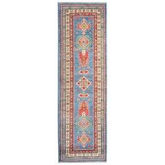 Handmade Carpet Kazak Runner Rug, Traditional Blue Flat-Weave