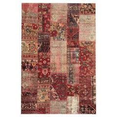 Handmade Carpet Modern Patchwork Area Rug Oriental Red Wool Rug