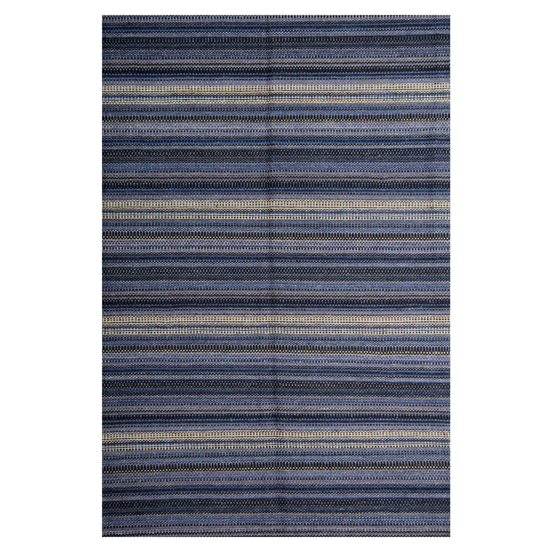 Handmade Carpet Modern Striped Kilim Rug, Blue Carpet Kilims Area Rug