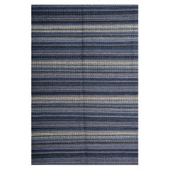 Handmade Carpet Modern Striped Kilim Rug, Blue Carpet Kilims Area Rug
