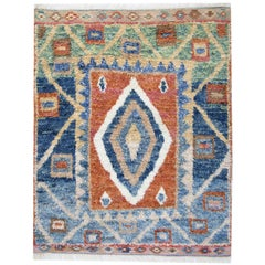 Handmade Carpet Moroccan Rugs, Shaggy Rugs, Red and Blue Primitive Carpet Sale