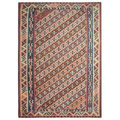 Handmade Carpet, Oriental Kilim Rug Multicolored Wool Kilims for Sale