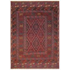 Handmade Carpet Oriental Rug Traditional Deep Red Rugs Square Turkmen Home Decor
