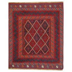 Handmade Carpet Oriental Rug Traditional Deep Red Rugs Square Turkmen Rug