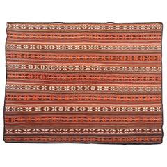 Handmade Carpet Oriental Striped Rug Antique Jajim Flat-Woven