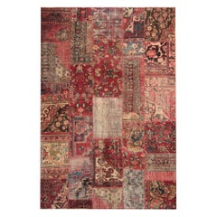 Handmade Carpet Patchwork Area Rug, Traditional Red Rug Oriental