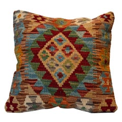 Handmade Carpet Pillow Cover, Kilim Rug, Decorative Pillow, Bench Cushion Cover