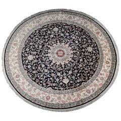 Handmade Carpet Pure Silk Oriental Rug, Large Round Circle Rugs, Chinese Hereke