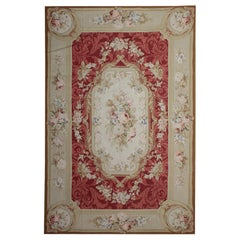 Handmade Carpet Red Rug, Flat-Weave Aubusson Style Rugs Floral Oriental Carpet