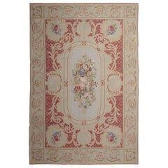 Handmade Carpet Red Rug, Floral Patterned Carpet Flat-Weave Aubusson Style Rugs