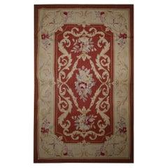 Handmade Carpet Red Wool Needlepoint Rug Traditional Beige Area Rug