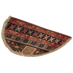 Handmade Carpet, Semicircle Entrance Way Mat Vintage Oriental Rug Door Mat