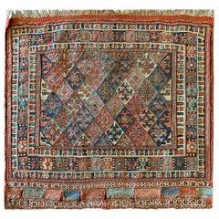Handmade Carpet Square Antique Rug, Caucasian Rust Wool Kilims Sumak