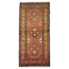 Handmade Carpet Traditional Antique Carpet, Orange Wool Caucasian Runner Rug