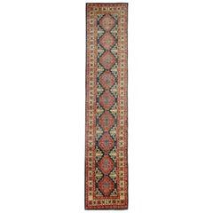 Handmade Carpet Traditional Kazak Rug Runner Rug Blue and Red Wool Rug