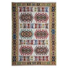 Handmade Carpet Tribal Kilim Rug Geometric Green Cream Area Rug