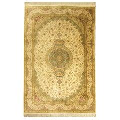 Handmade Carpet Turkish Silk Rug, Traditional Green Oriental Rug