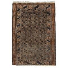 Handmade Carpet Vintage Afghan Rug Oriental Deep Brown and Orange Wool Area Rug
