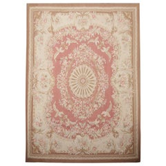 Handmade Carpet Vintage Aubusson Style Rug 1980 French- Pink and Beige Wool Rugs