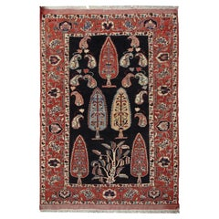 Handmade Carpet Vintage Caucasian Area Rug, Tribal Red wool Living Room Rug Sale