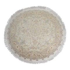 Handmade Carpet Vintage Circular Silk Rug, Oriental Turkish Cream Pink Rug