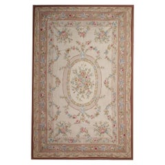 Handmade Carpet Vintage Tapestry, Pink Floral Aubusson Style Rug Needlepoint