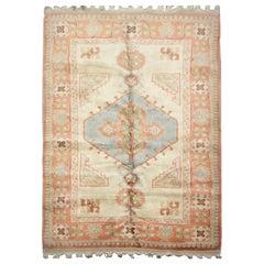 Handmade Carpet Vintage Turkish Milas Rug, Pastel Colored Country House Rug