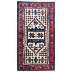 Handmade Carpets Vintage Rugs, Geometric Oriental Red Blue Area Rug