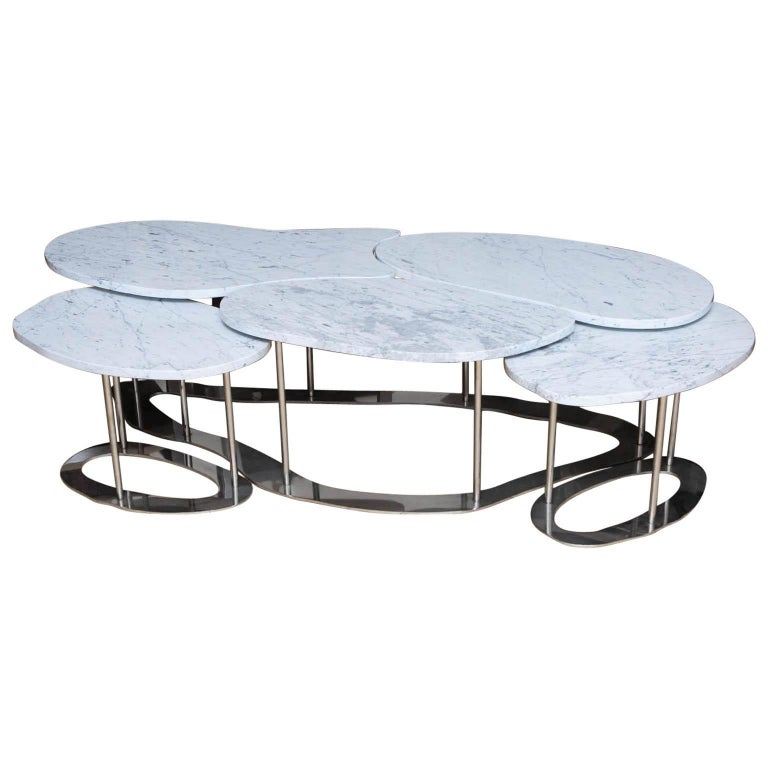 Marble And Steel Coffee Table: Handmade Carrara Marble And Stainless Steel Coffee Table