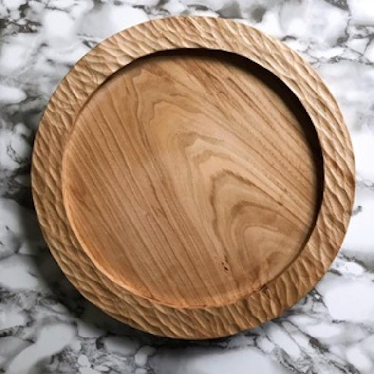 Organic Modern Handmade Carved Wood Large Circular Tray in Black, in Stock For Sale