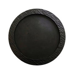 Handmade Carved Wood Large Circular Tray in Black, in Stock