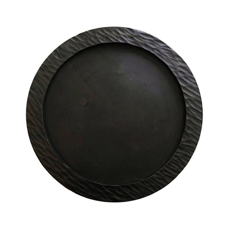 Handmade Carved Wood Large Circular Tray in Black, in Stock For Sale