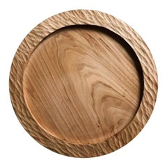 Handmade Carved Wood Large Circular Tray in Natural, in Stock