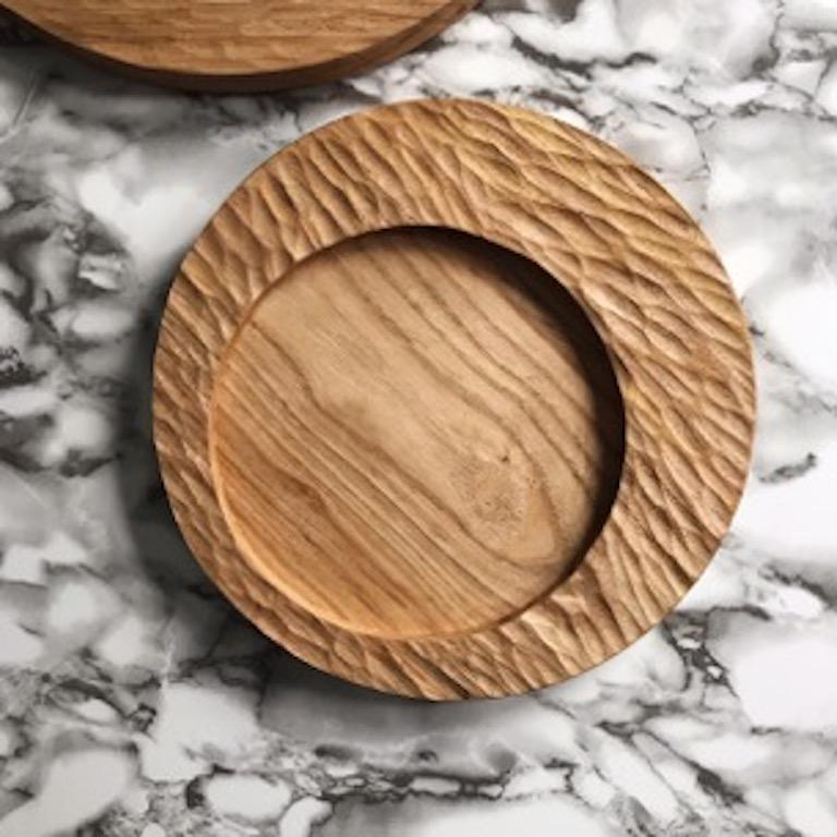 Organic Modern Handmade Carved Wood Small Circular Tray in Black, In Stock For Sale