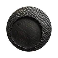Handmade Carved Wood Small Circular Tray in Black, In Stock