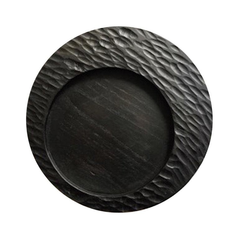 Handmade Carved Wood Small Circular Tray in Black, In Stock For Sale
