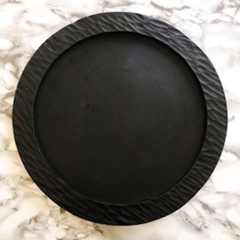 Hand-Carved Handmade Carved Wood Small Circular Tray in Natural, in Stock For Sale