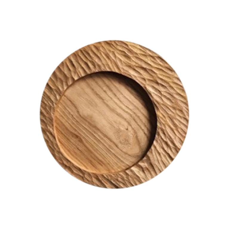 Handmade Carved Wood Small Circular Tray in Natural, in Stock For Sale