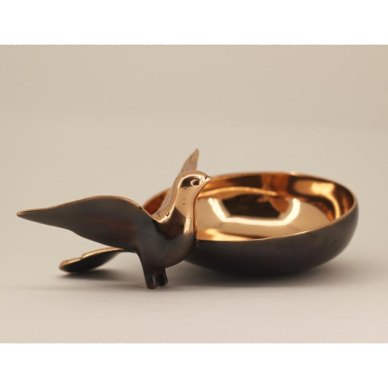 Indian Handmade Cast Bronze Bowl with Bird For Sale